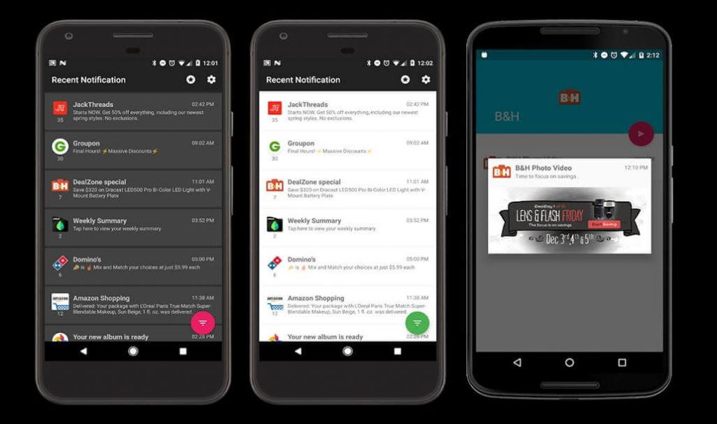 best free android apps - Recent Notification