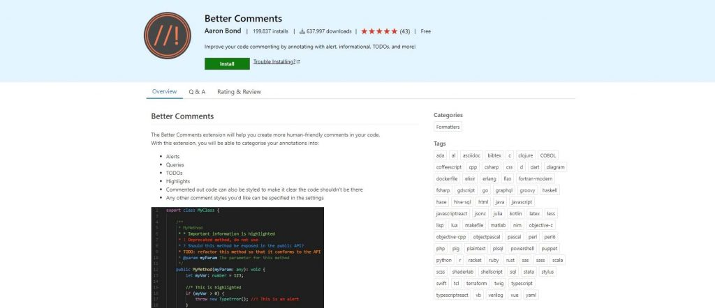 best visual studio extensions - Better Comments